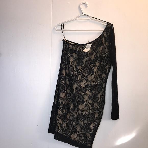 🖤🖤Nude & Black Lace One Shoulder Dress 🖤🖤